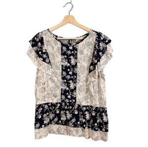 Loft, Floral, Peplum Top, Pink and Blue, Large